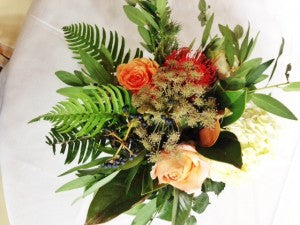 Low Centerpiece, country wedding, rustic wedding flowers, Rochester NY Florist