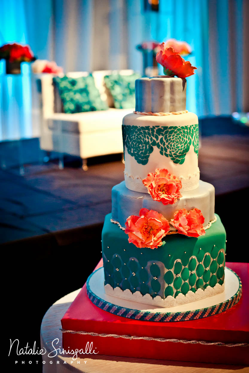 Erindipity Cakes teal and coral wedding cake