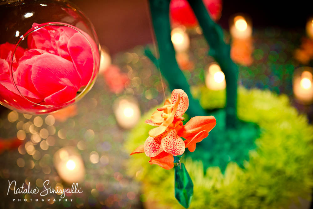 © Natalie Sinisgalli Photography coral and teal place card manzanita tree by Stacy K Floral