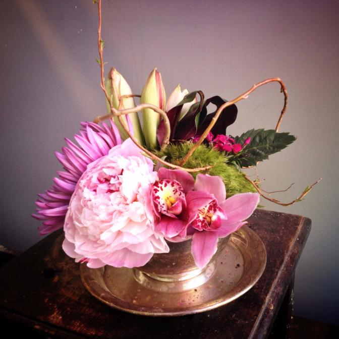 orchid with peony and mum arrangement