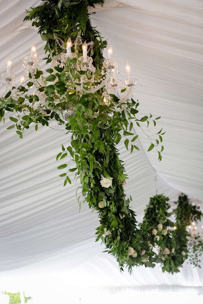greenery in hanging chandelier