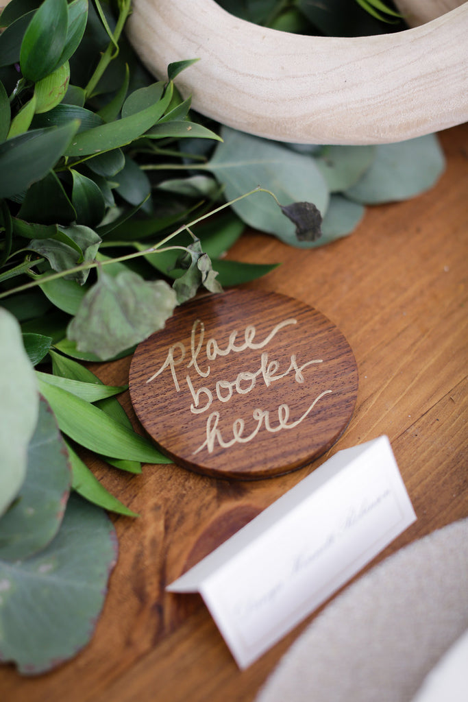 book place holder for wedding table