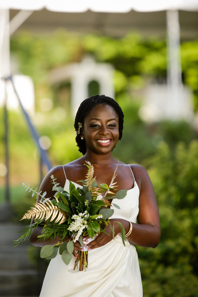 greenery bouquet with hints of gold ivory bridesmaid dress