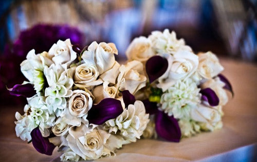 white purple wedding flowers