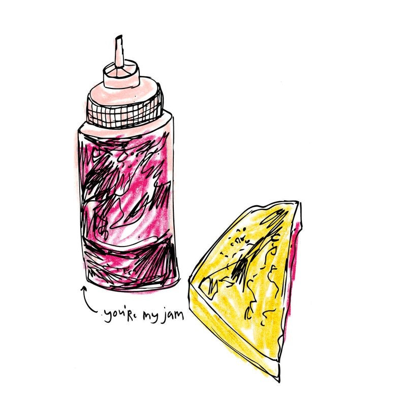 "Illustration of a bottle of jam next to a sandwich with ""you're my jam"" written with an arrow pointing to jam container. 'You're My Jam' card Original Illustration, printed digitally  100 lb matte white paper 4.25 x 5.5 A2 Includes white envelope  Blank inside"