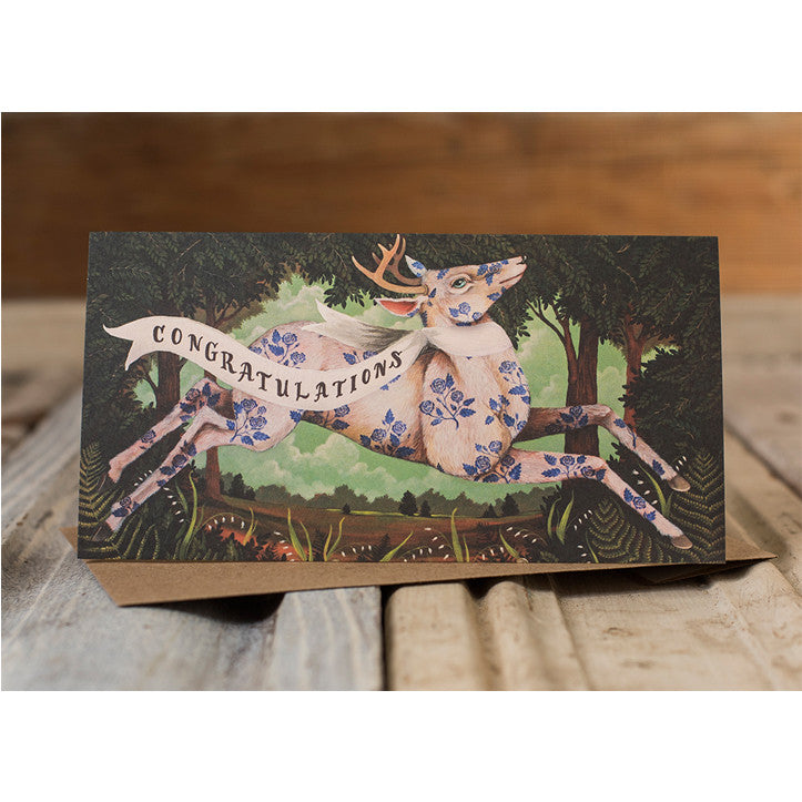 "This card features a ""congratulations"" message and an adorable deer illustration by Elizabeth Foster."