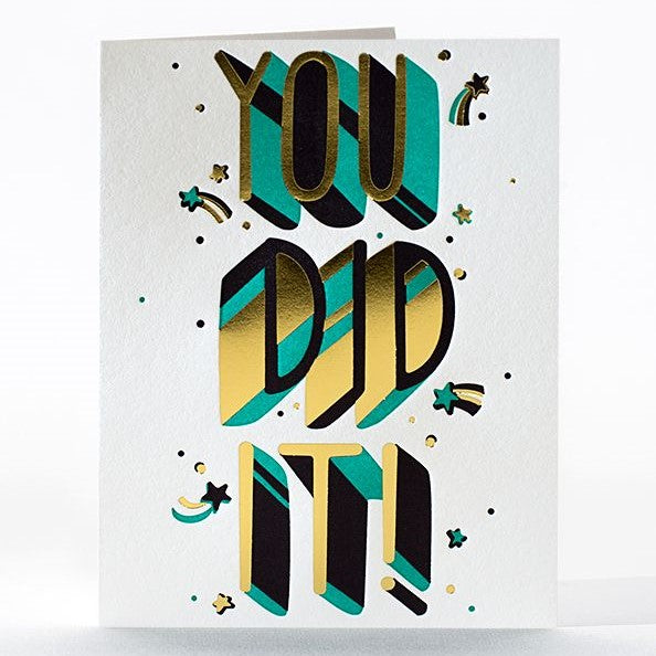 An upgrade from the basic gold star for good work, this celebratory letterpress greeting card is perfect for saying congrats on a big accomplishment or on one of life's little victories. Letterpress printed and foil stamped on 100% cotton rag paper.