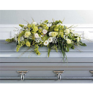 Green and White Casket Spray