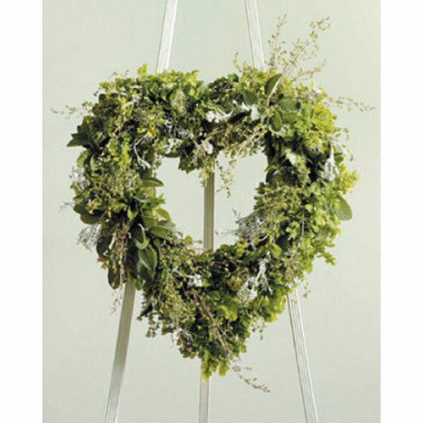Heart Sympathy Wreath of all natural greens.