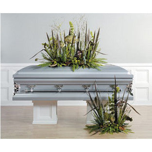 Natural Sympathy Suite includes two arrangements a casket and a floor piece that resemble the outdoors.