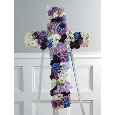 Purple, White and Blue Cross - STACY K FLORAL