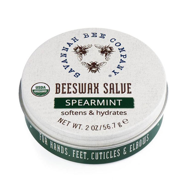 Savannah Bee Spearmint Beeswax Salve Nourishes dry, distressed skin with a blend of pure beeswax, vitamin E, and olive oil. A little goes a long way-- certified organic salve penetrates quickly to moisturize and condition. Available in 2 oz and 0.75 oz tins.