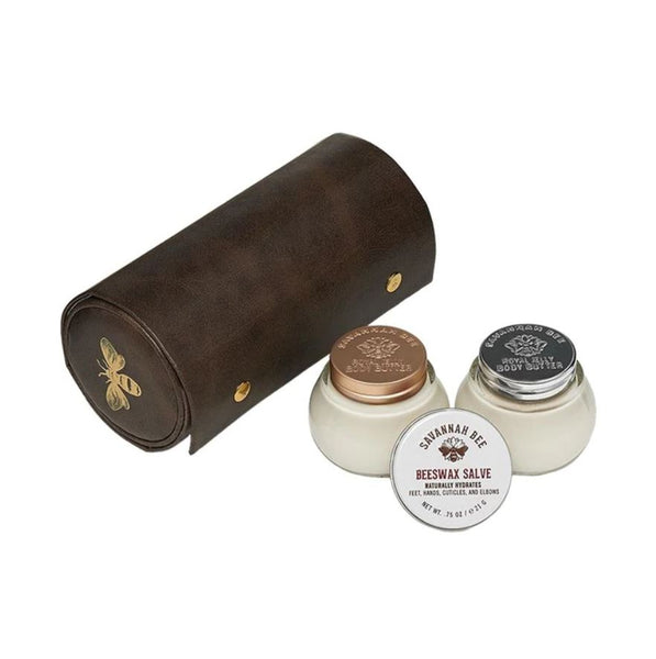 Give the royal treatment with gifts fit for a Queen Bee. This convenient and reusable vegan travel case is multi-tiered and packed with luxurious body care products inspired by the beehive.  Mini Royal Jelly Body Butters in both the Tupelo Honey and Original Formula are perfect for dry areas, thanks to royal jelly's skin-soothing properties. Tupelo Honey's warm vanilla and fresh lemon scent is a perfect partner for the invigorating blackberry aroma of the Original Formula Body Butter.  Our Beeswax Salve is