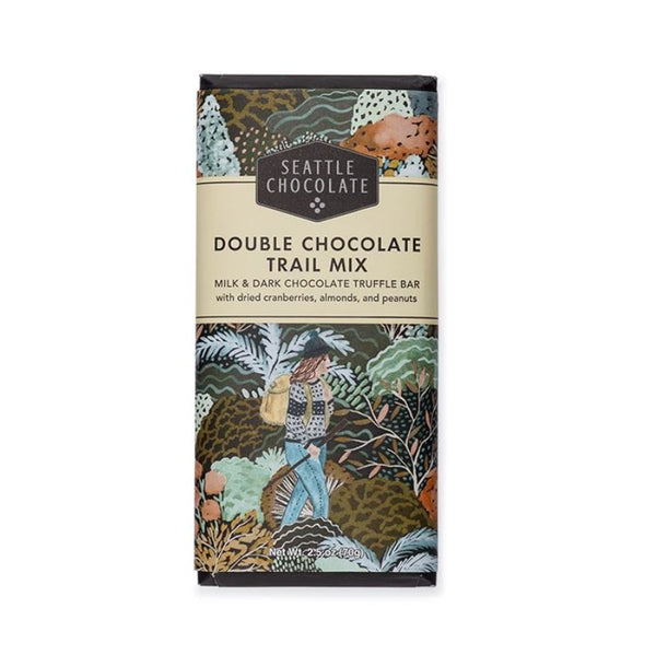 Seattle Chocolates Double Chocolate Trail Mix - Coated in a rich dark chocolate shell, dried cranberries, almonds, and peanuts are mixed in the creamiest milk chocolate center for a double chocolate delight.