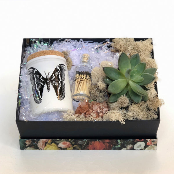This gift box includes a succulent plant, Skeem Citronella and Sea Salt Candle, Skeem Matches in glass container with cork, red aragonite crystal, and reindeer moss for texture