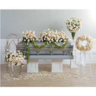 4 pieces in all whites and neutrals for casket and family pieces.