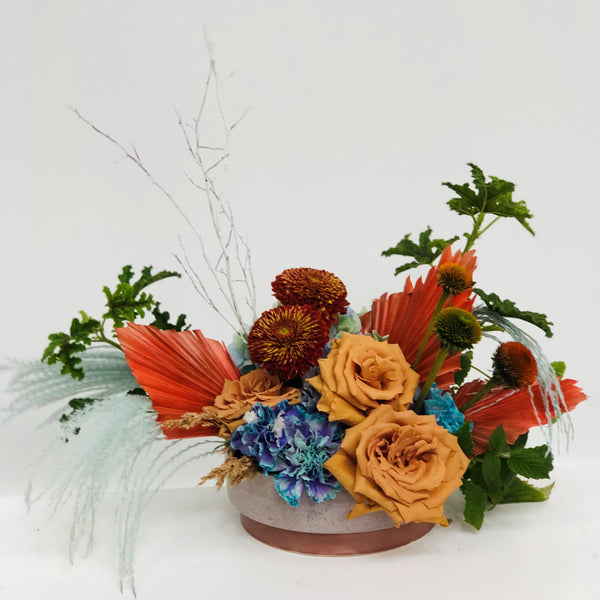 Fall boho centerpiece with dried palms