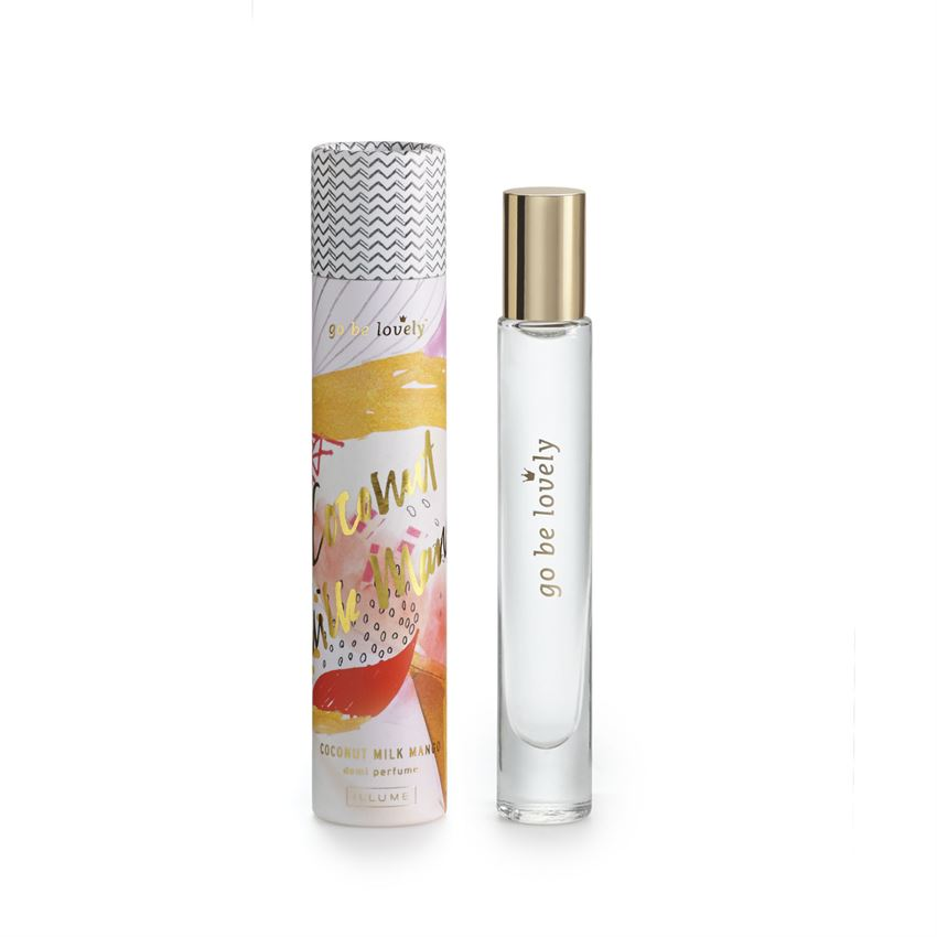 Glass roller-ball perfume Coconut Milk Mango fragrance blends tropical scents of pineapple, mango, papaya, and coconut milk with sugarcane and Tahitian vanilla