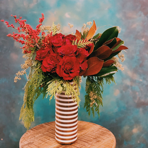 Dozen Roses Striped Vase