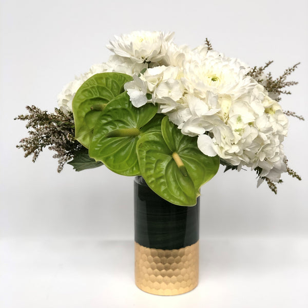 white and green modern vase with gold accents