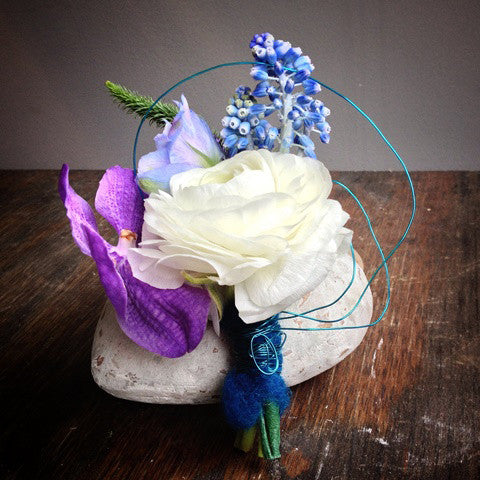 White and Blue Boutonniere - STACY K FLORAL