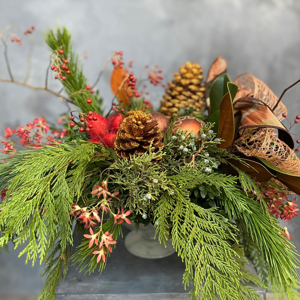 mixed evergreen centerpiece