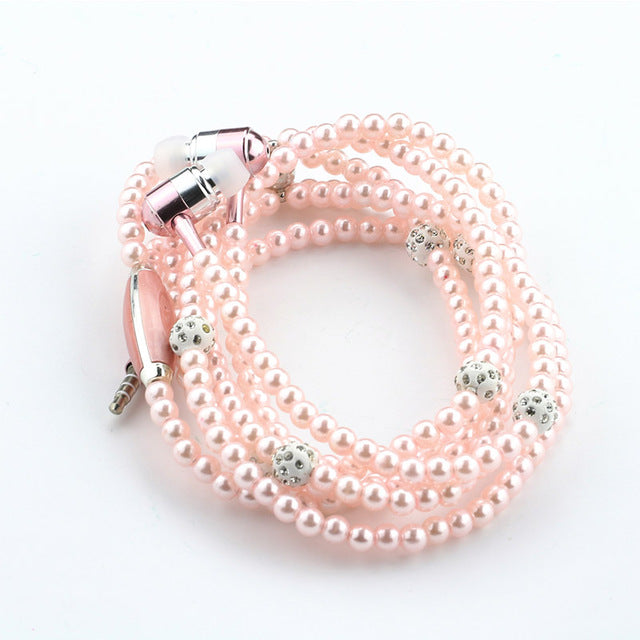 Jewellery Pearl Necklace Earphone With Microphone