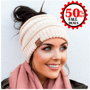 A Handmade Soft Knit Beanie That's PERFECT for Ponytails & Buns Make Your Lives