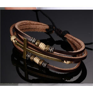 Multi Layer Leather Cross Bracelet Make Your Lives
