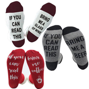 If You Can Read This Bring Me Wine Socks | Make Your Lives - $8.99