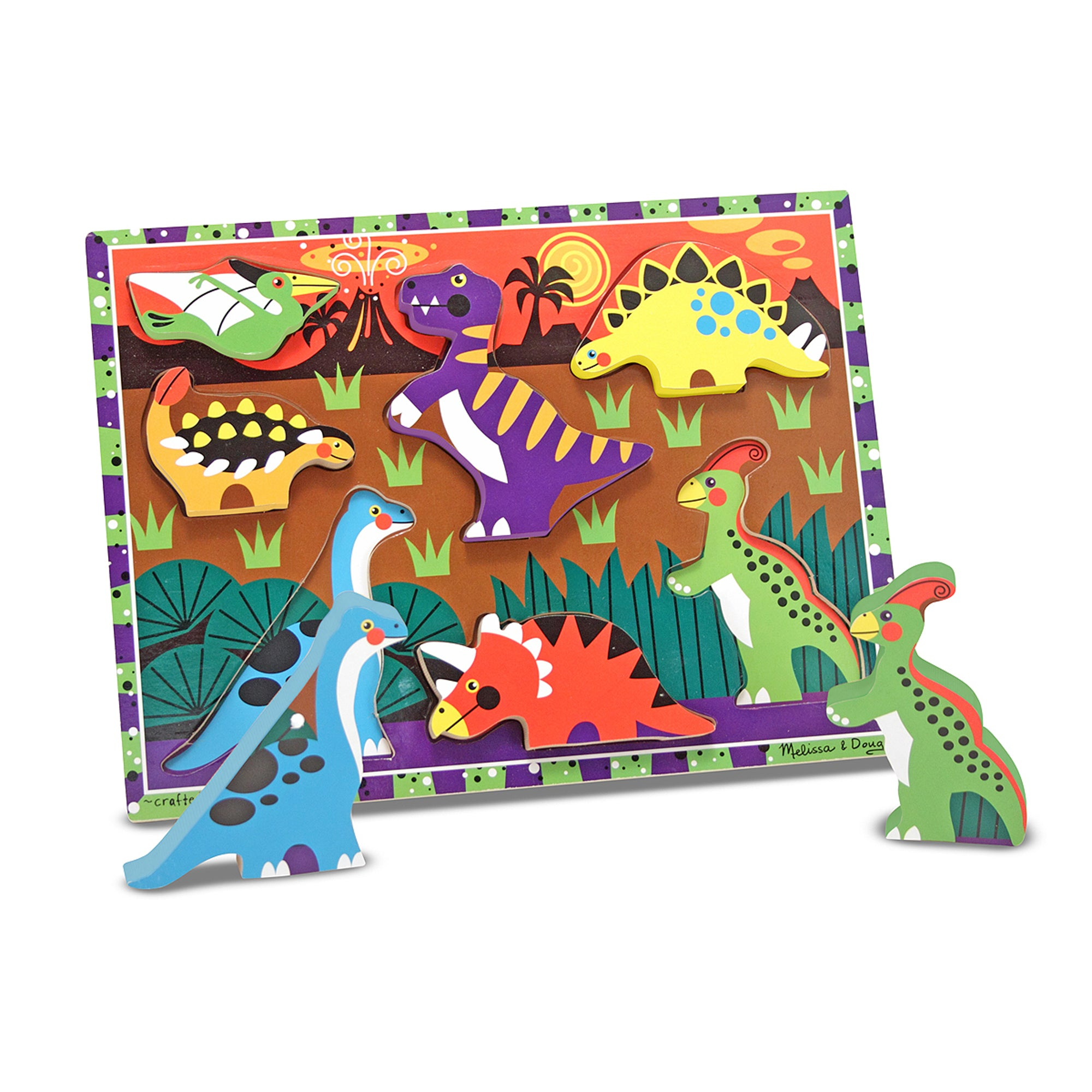 Melissa & Doug Chunky Wooden Puzzle Dinosaurs