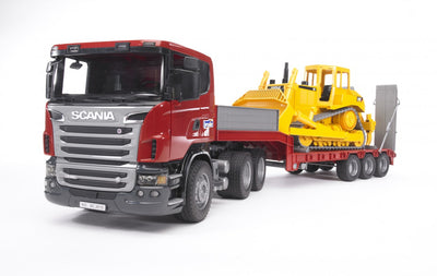Bruder 03555 Scania R Series Low Loader With CAT Bulldozer