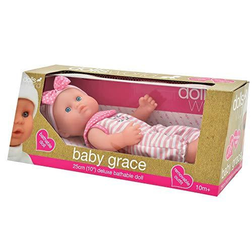 "Dolls World Baby Grace 10"" Deluxe Bathable Doll"