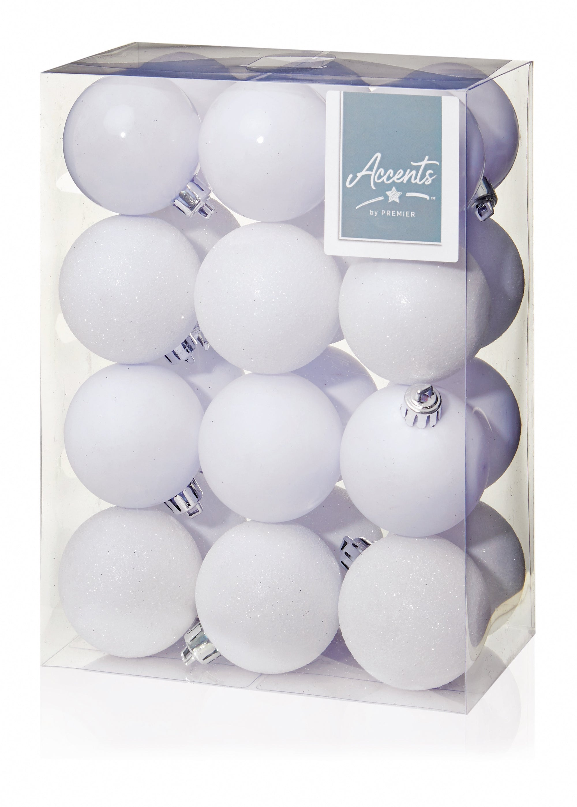 24x 60mm Multi-Finish White Baubles