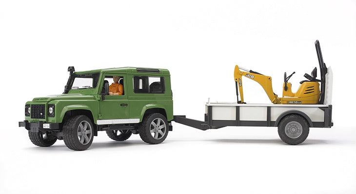 Bruder 02593 Land Rover Defender with JCB Micro and Trailer