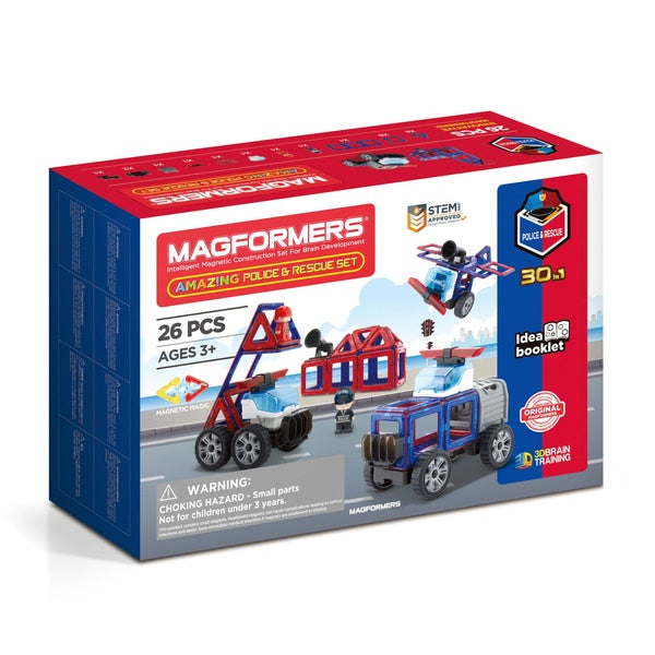 Magformers 26pc Police And Rescue Construction Playset