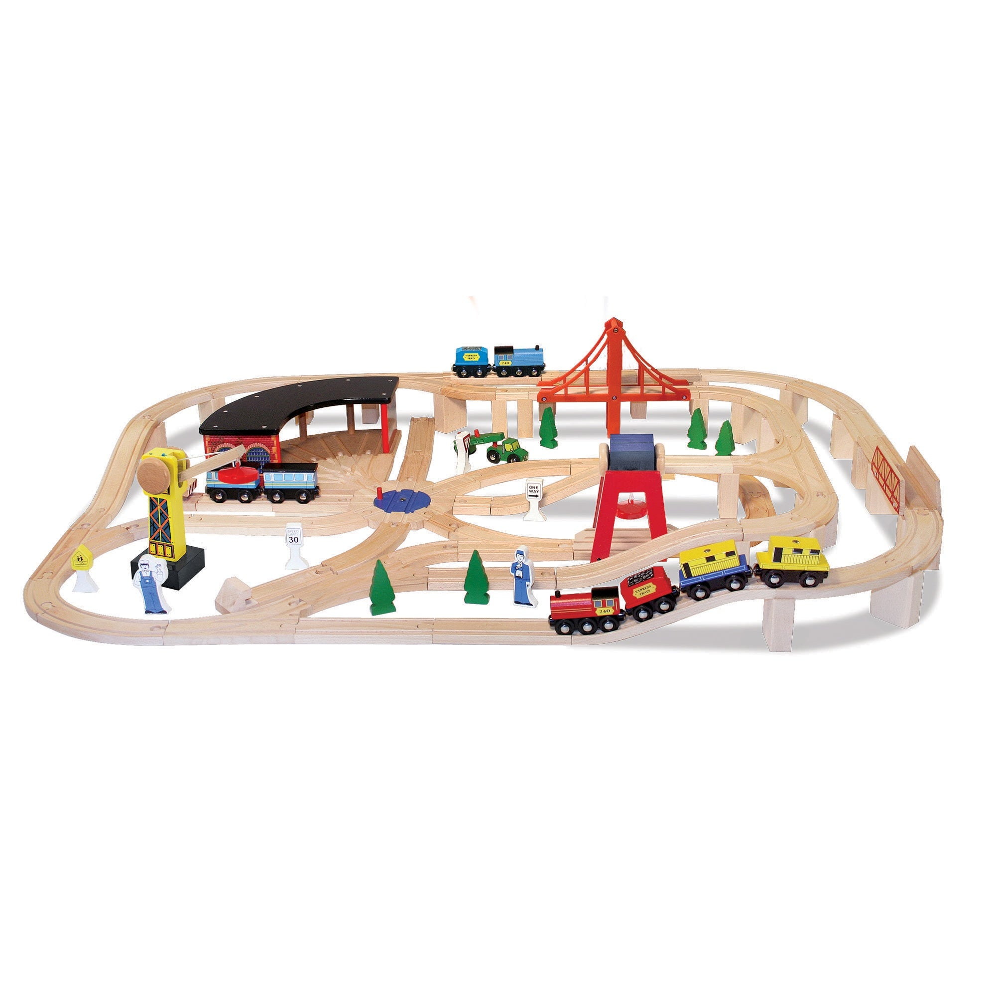 Melissa & Doug 132pc Wooden Railway Set