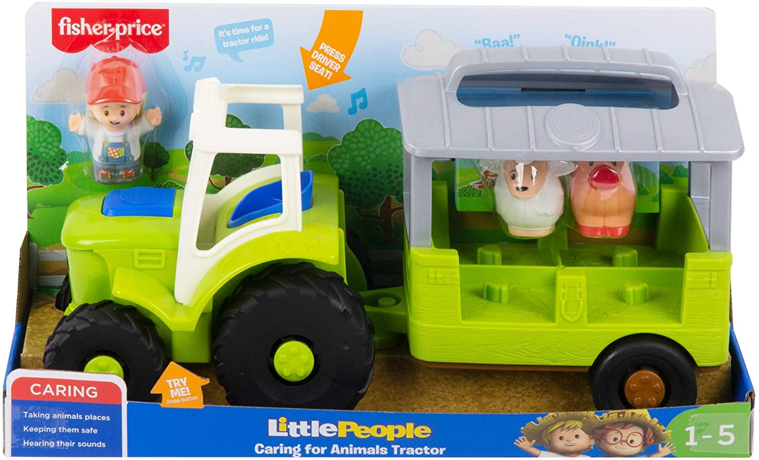the Little People® Caring for Animals Tractor lets little farmers plant and plow all over.