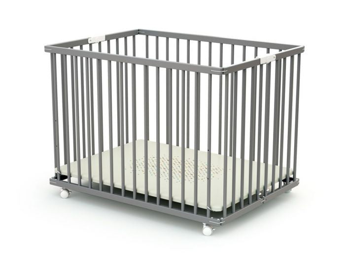 Babycare Foldable Wooden Playpen - Grey