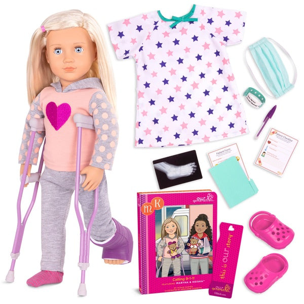 Our Generation Doll Martha And Calling 911 With Crutches