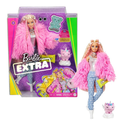 Barbie Extra Doll In Pink Fluffy Coat With Unicorn Pig Toy