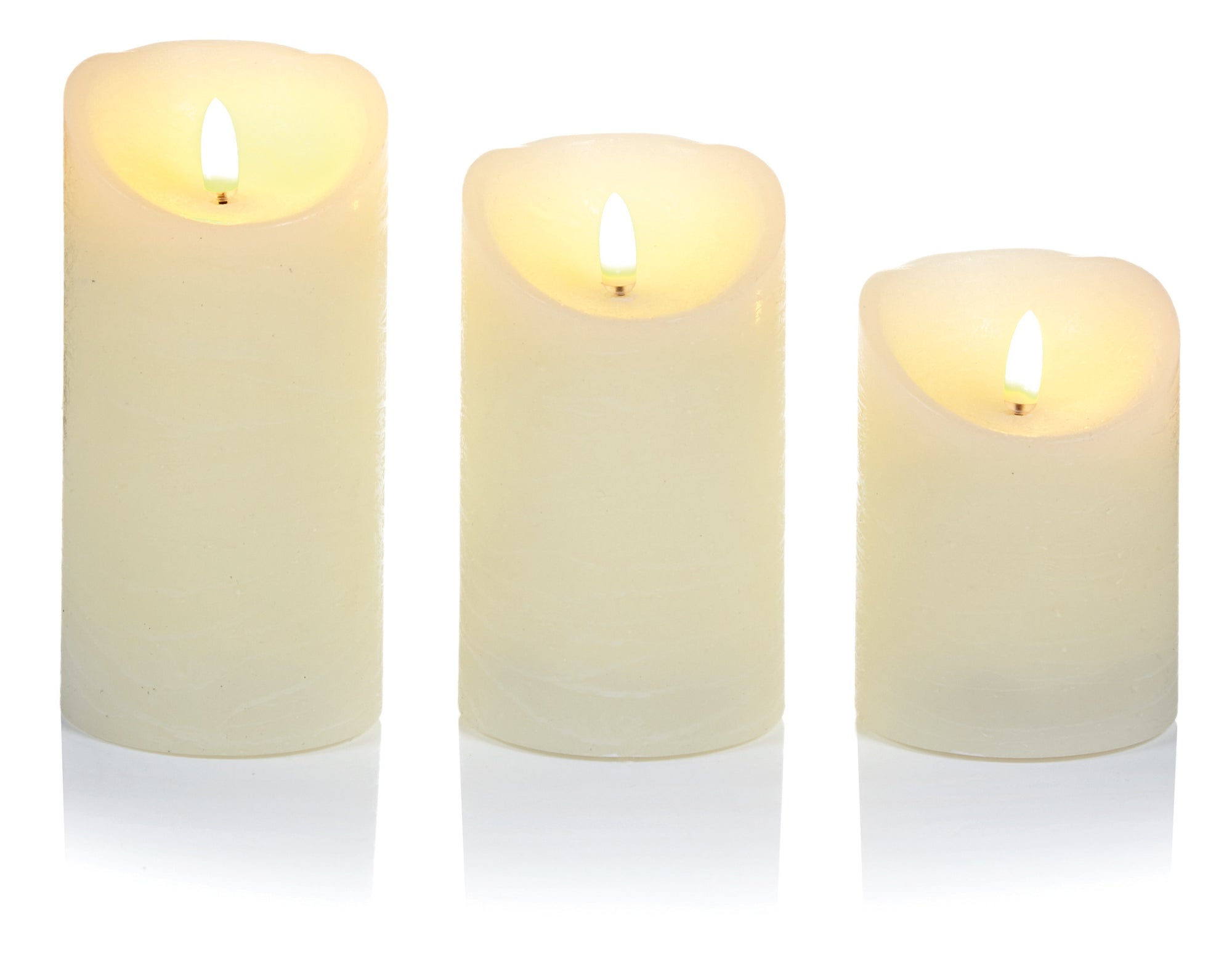 Set x3 Flickabright Cream Candles Textured
