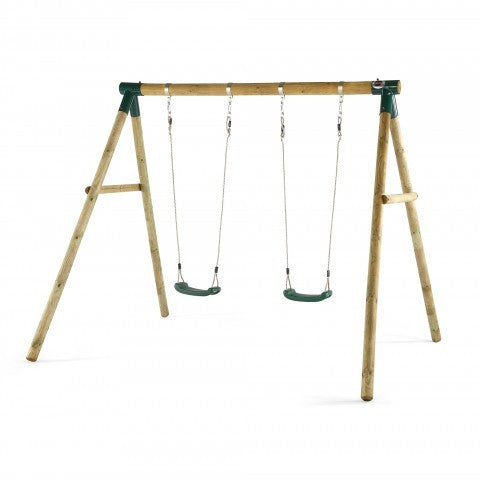 Plum Marmoset Double Wooden Swing Set