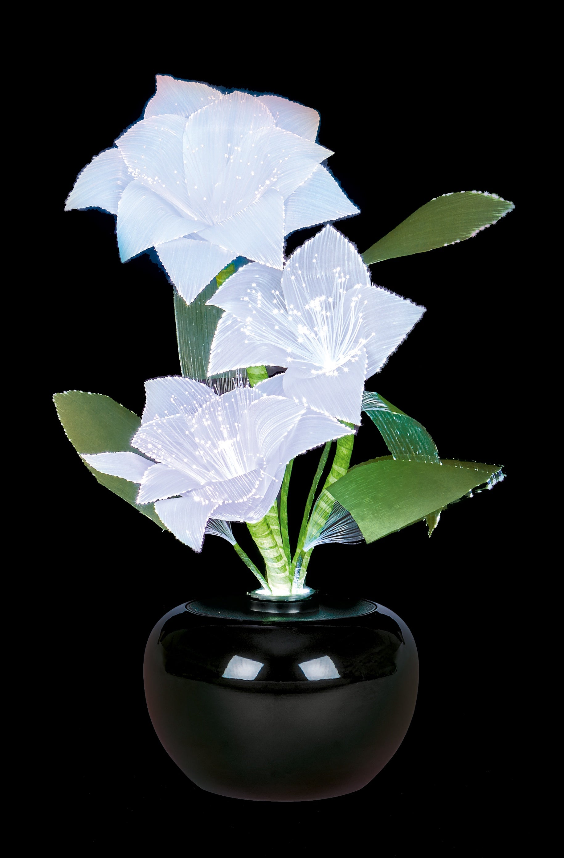 40cm Fibre Optic White Poinsettia