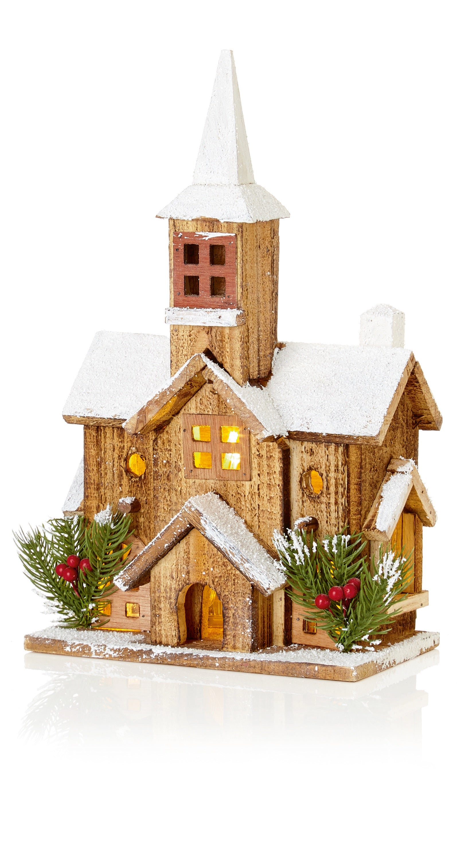 38cm Wooden Church with Steeple