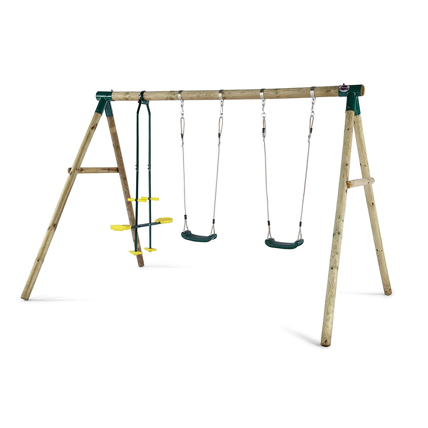 Plum Colobus Wooden Triple Swing