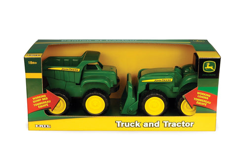 Tomy John Deere Mini Sandbox Tractor And Dump Truck Set