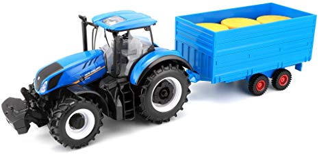 Burago New Holland Tractor with Hay Trailer 1:32