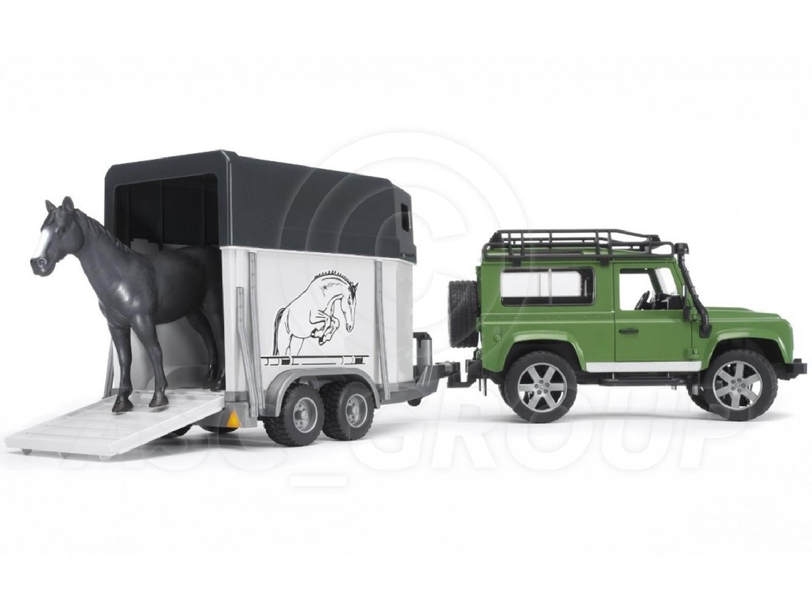Bruder 02592 Land Rover Defender Station Wagon with Horse Trailer 1; 16