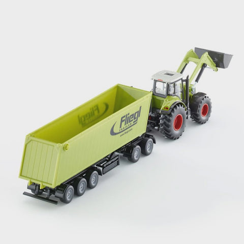 Siku 1949 Claas Axion with Front Loader, Dolly and Tipping Trailer 1:50